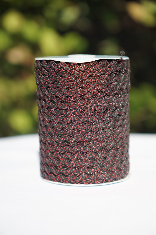 Black w/Metallic Red Ric Rac - 109 yards