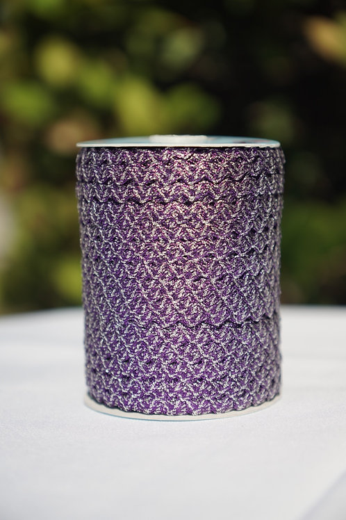 Metallic Purple/Silver Ric Rac - 109 yards