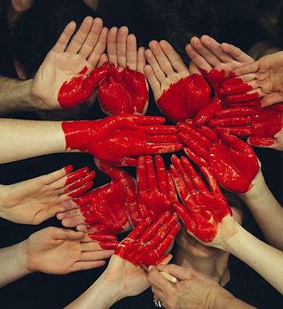 Herz Hand Farbe Liebe Gemeinschaft Team.