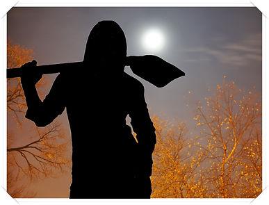 Иллюстрация к детективу. Вечернее небо, в свете луны золотятся ветки деревьев. На переднем плане стоит девушка, а у нее на плече большая совковая лопата...