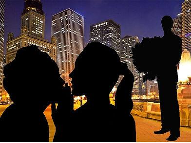 Иллюстрация к роману. На фоне вечернего города силуэты двух девушек. Они о чем-то увлеченно спорят. А чуть поодаль стоит парень с огромным букетом цветов.