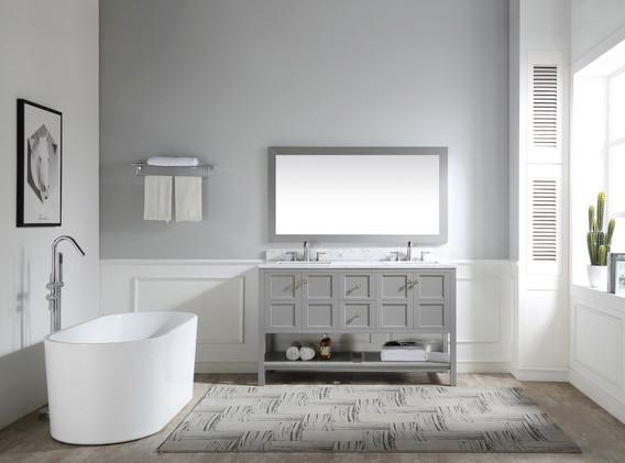 60 in. W Designer Bath Vanity in Grey wi