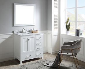 36 in. W Bath Vanity in White with Marbl