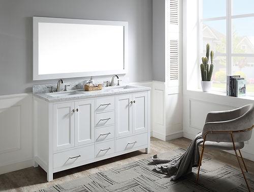 60 in. W Designer Bath Vanity in White w