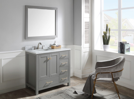36 in. W Bath Vanity in Grey with Marble