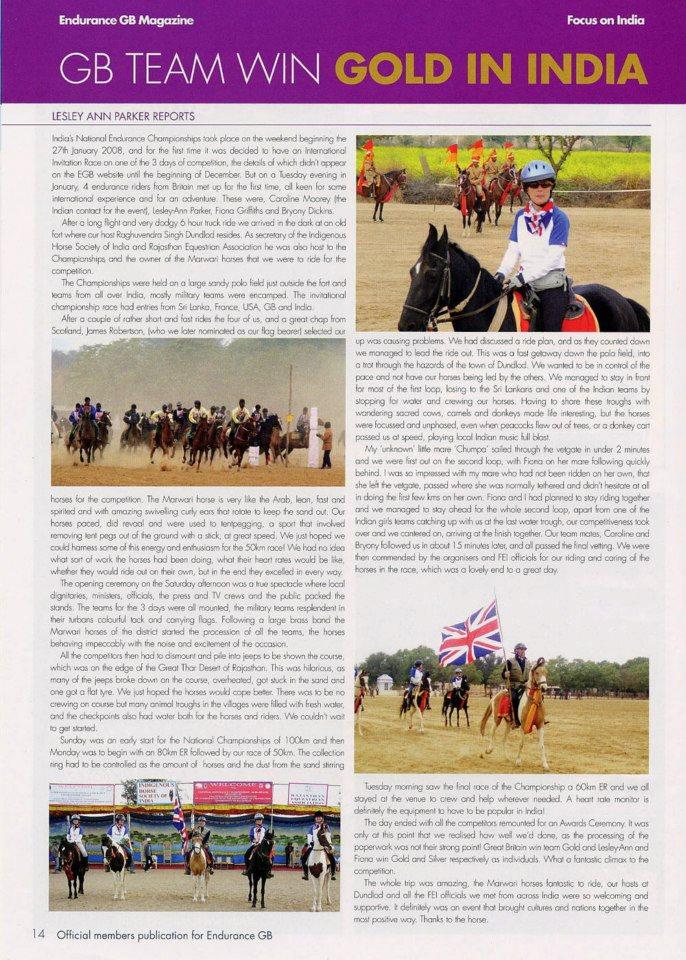 Endurance GB magazine article 2008