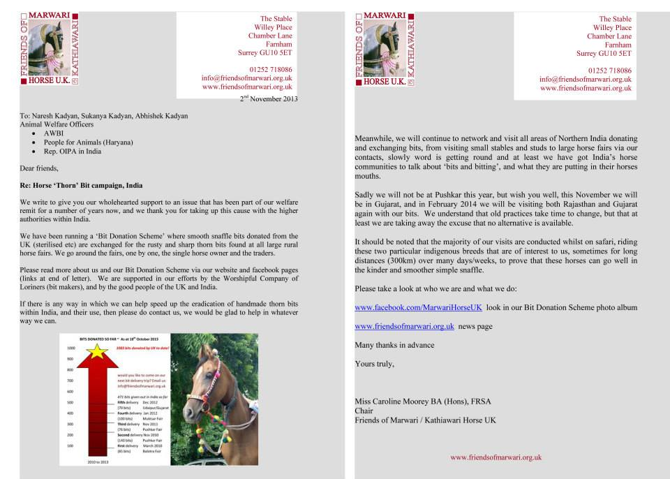 Letter to Animal Welfare Board India