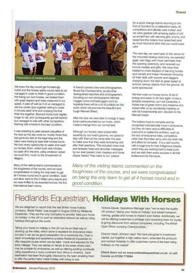 Endurance GB magazine article 2009