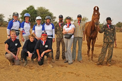 Team GB with crew and grooms.