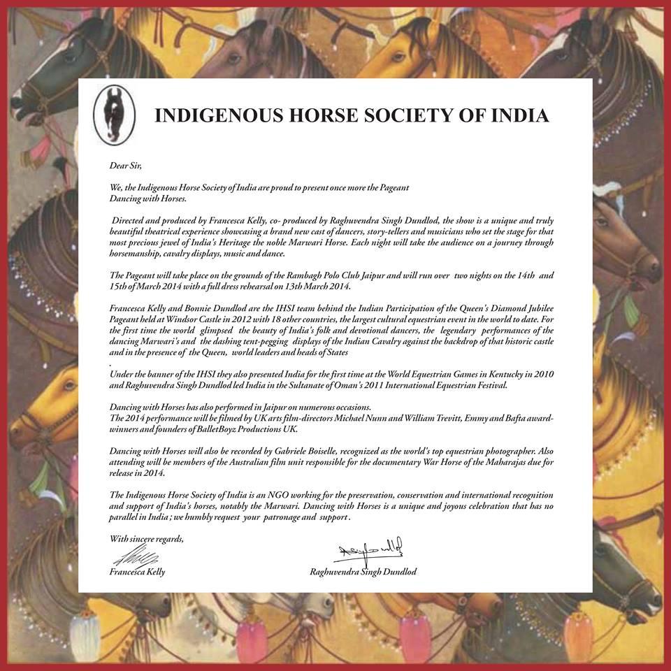 IHSI re Dances With Horses 2014
