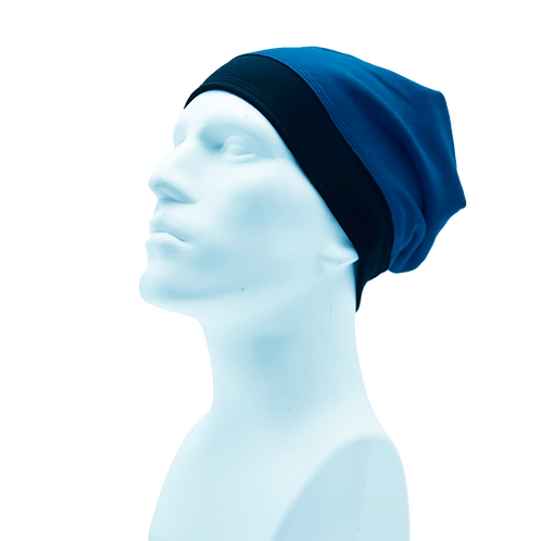 Bamboo/Merino Wool Jersey Reversible Toque Blue