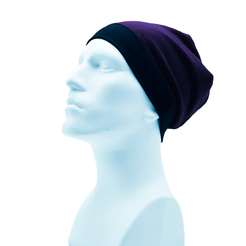 Bamboo/Merino Wool Jersey Reversible Toque Purple