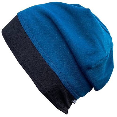 Bamboo Jersey Reversible Toque Blue