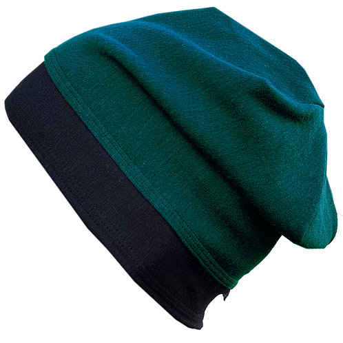 Bamboo/Merino Wool Jersey Reversible Toque Green