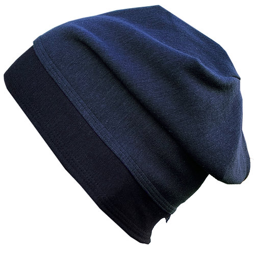 Bamboo Jersey Reversible Toque Navy
