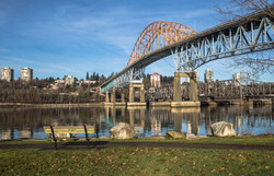 Pattullo Bridge and Railroad Track over