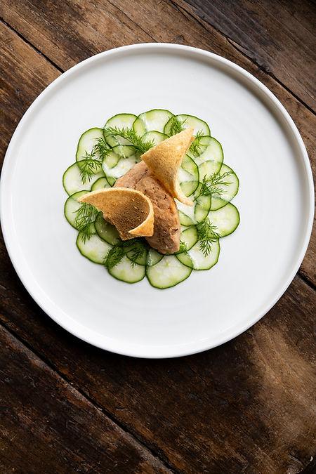 Smoked Mackerel Rillette, Pickled Cucumb
