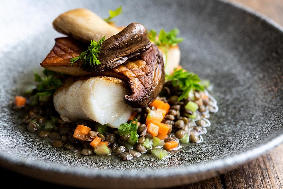 Cod, Leeks, Oyster Mushroom, Chervil, Le