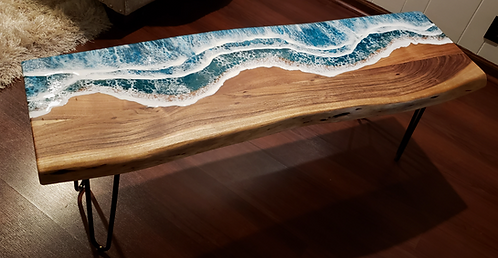 Ocean Waves Bench | Wood and Resin Furniture