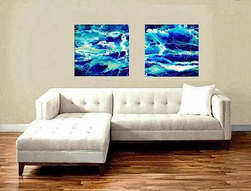 Down by the Seaside by Jane Biven 2 pc resin art on white wall
