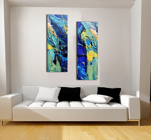 Midnight Train 2 piece acrylic print panels wall 1