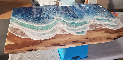 Ocean Waves Coffee Table | Wood and Resin Furniture