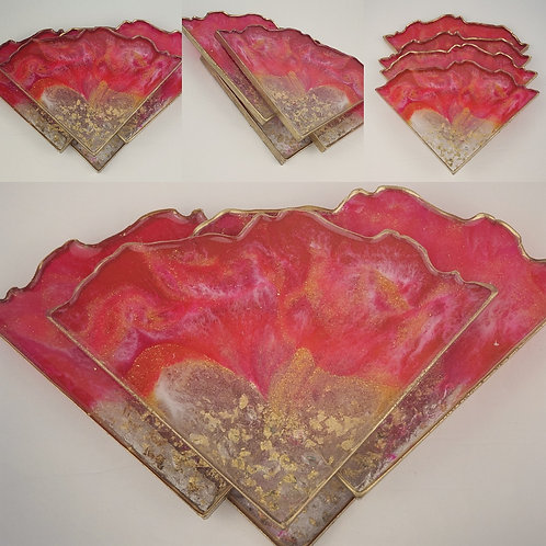 Resin Agate/Geode Coaster Set #2