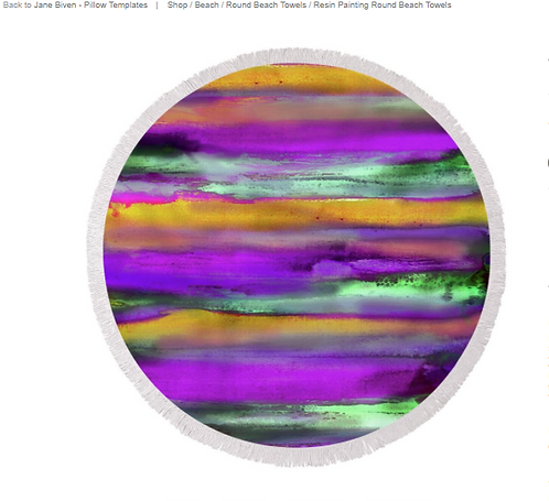 Round Beach Towel/Blanket #36 Resin Art Printed Home Decor