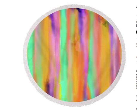 Round Beach Towel/Blanket #35 Resin Art Printed Home Decor