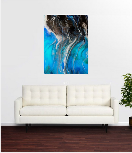 Abstract seascape Sea of Love, print on canvas above white sofa