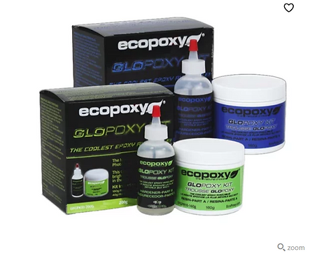 Ecopoxy Glopoxy glow in the dark epoxy resin in blue and green from HalfBakedArt