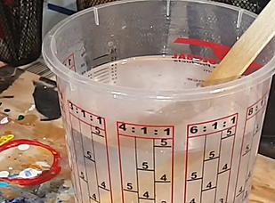 mixing epoxy resin at HalfBakedArt