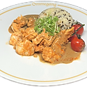 Les aiguillettes de volaille, sauce à l'estragon a l'ancienne, riz sauvage