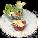 Tartare de boeuf préparé maison, salade & frites