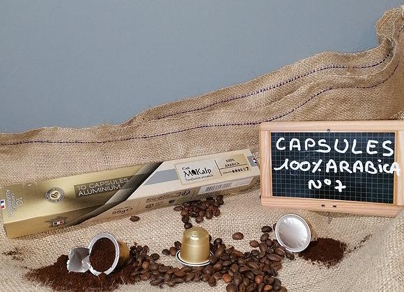 Capsules compatibles Nespresso© 100% Arabica - Intensité 7/10   Boîte de 10
