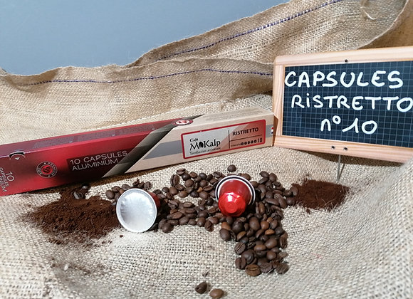 Capsules compatibles Nespresso© Ristretto - Intensité 10/10   Boîte de 10