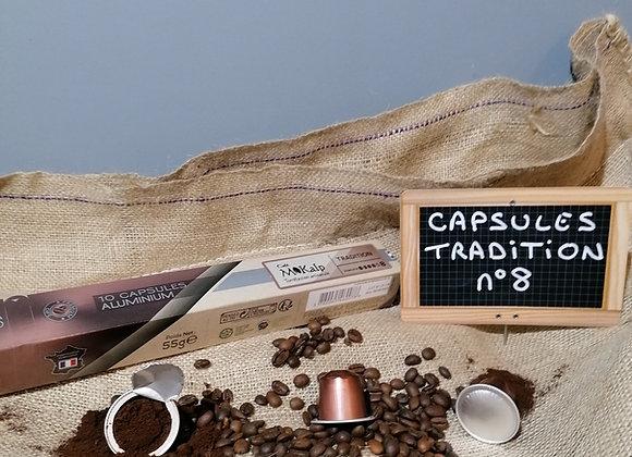 Capsules compatibles Nespresso© Mélange Tradition - Intensité 8/10 | Boîte de 10