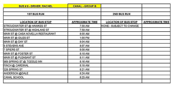 Copy of GROUP B - CANAL - BUS # 6 - RACH