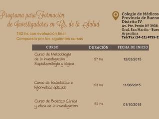 Cursos 2015 - FORMACION DE INVESTIGADORES CLÍNICOS - Colegio de Médicos Pcia Bs.As, DIV
