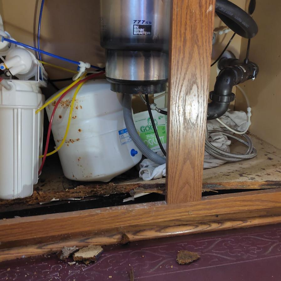 Water damage under the sink