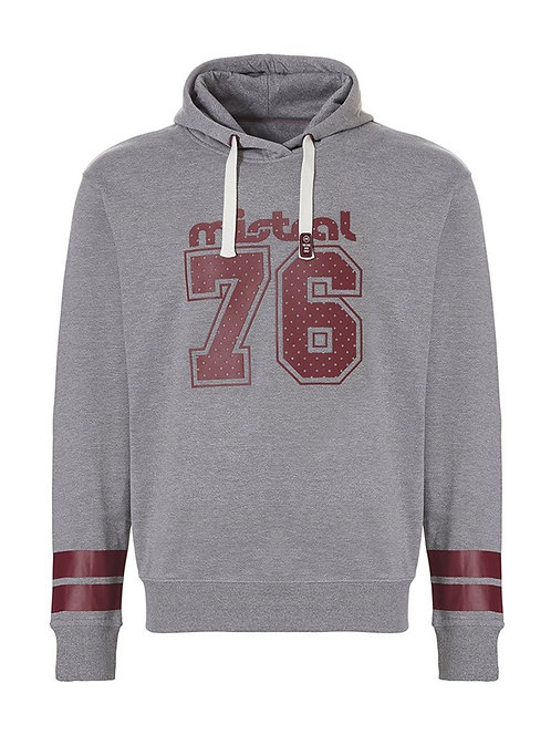 Mistral Hooded Sweat Shirt Grey/Burgundy