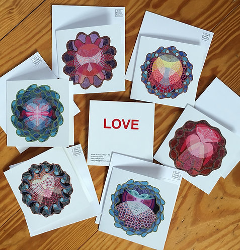Set of six Note Cards all about the Heart.