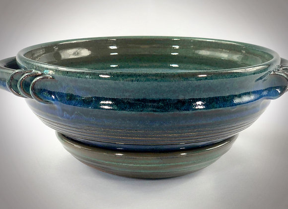 """Blue and Blue Green Colander with handles and tray - 10.5"""" x 4.5"""""""