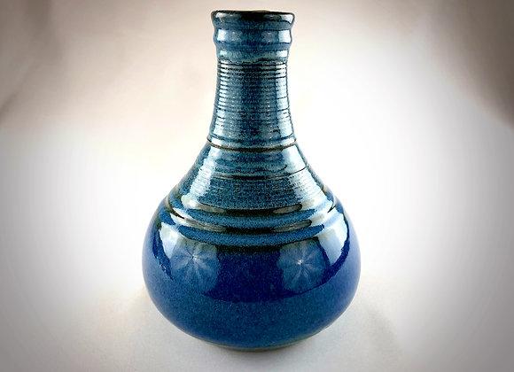 "Light Blue and Blue Tear Drop Ceramic Vase - 7"" x 7.5"""