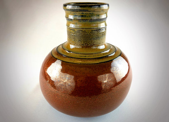 "Reddish Brown and Tannish Brown Ceramic Vase - 8"" x9"""