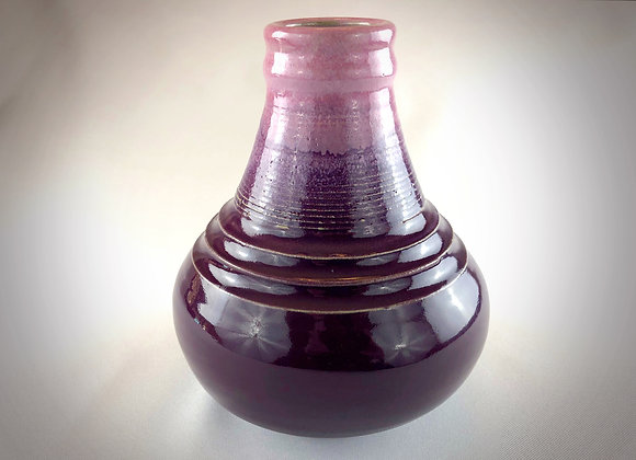 "Pink and Purple Tear Drop Ceramic Vase - 8.5"" x 7.75"""