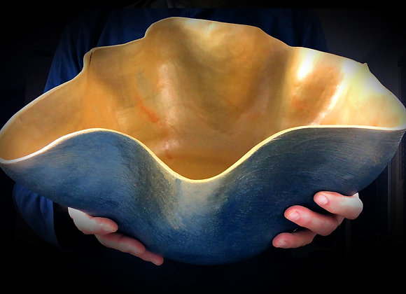 """Blue and Yellow Hand Built Vessel - 17"""" x 14"""" x 7"""""""