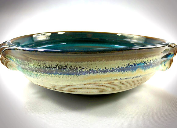 """Blue Green and White Bowl with handles - 11.5"""" x 3.25"""""""