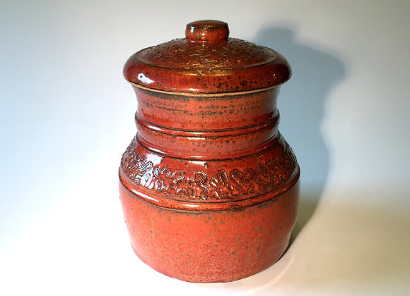 """Red Covered Jar - 4.25""""  x 5.5"""""""