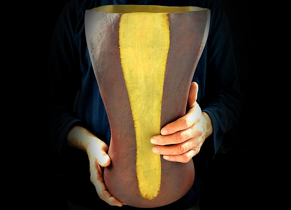 """Tall Brown and Yellow Vessel - 9"""" x 9"""" x 16"""""""